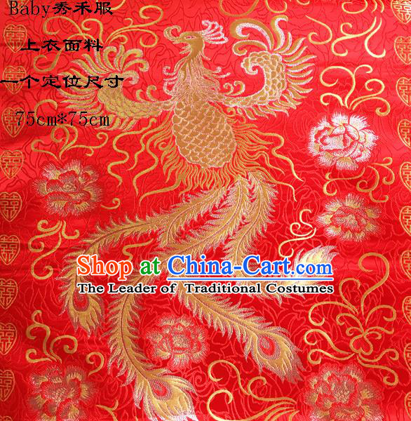 Traditional Asian Chinese Handmade Embroidery Phoenix Silk Satin Tang Suit Xiuhe Suit Red Fabric, Nanjing Brocade Ancient Costume Hanfu Cheongsam Cloth Material