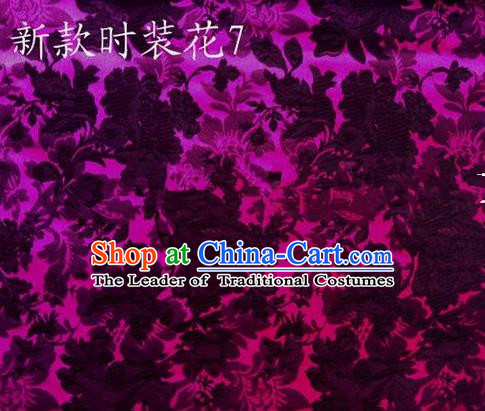 Traditional Asian Chinese Handmade Embroidery Flowers Pattern Silk Satin Tang Suit Mandarin Empress Cloak Purple Fabric, Nanjing Brocade Ancient Costume Hanfu Cheongsam Cloth Material