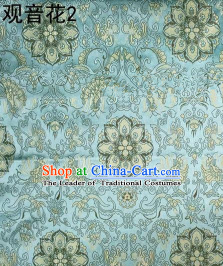 Traditional Asian Chinese Handmade Embroidery Flowers Pattern Silk Satin Tang Suit Mandarin Empress Cloak Green Fabric, Nanjing Brocade Ancient Costume Hanfu Cheongsam Cloth Material
