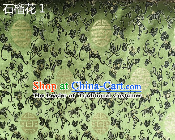 Traditional Asian Chinese Handmade Embroidery Pomegranate Flower Silk Satin Tang Suit Green Fabric, Nanjing Brocade Ancient Costume Hanfu Cheongsam Cloth Material