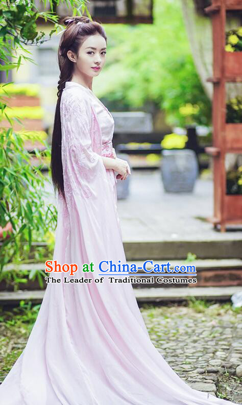 Asian Chinese Traditional Northern and Southern Dynasties Young Lady Costume and Headpiece Complete Set, Princess Agents China Elegant Hanfu Embroidery Dress