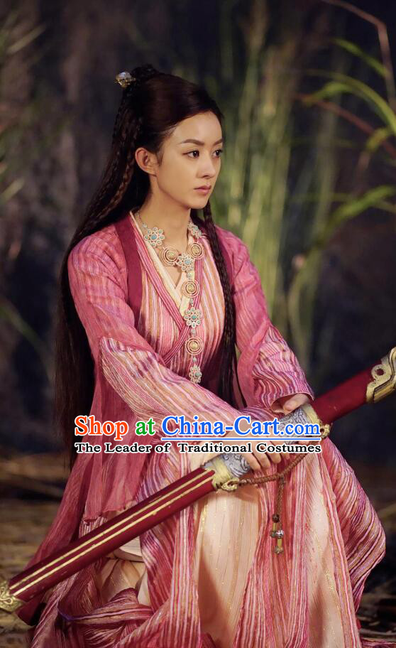Asian Chinese Traditional Northern and Southern Dynasties Swordswoman Costume and Headpiece Complete Set, Princess Agents China Elegant Hanfu Female Embroidery Clothing