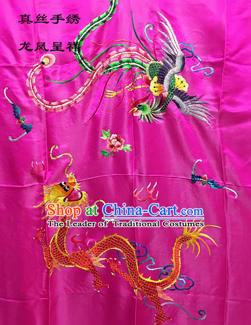 Traditional Asian Chinese Handmade Embroidery Dragon and Phoenix Quilt Cover Silk Tapestry Rosy Fabric Drapery, Top Grade Nanjing Brocade Bed Sheet Cloth Material