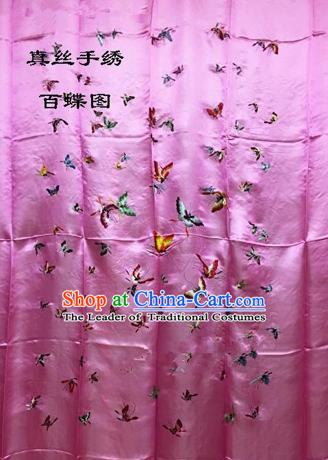 Traditional Asian Chinese Handmade Embroidery Hundred Butterfly Quilt Cover Silk Tapestry Pink Fabric Drapery, Top Grade Nanjing Brocade Bed Sheet Cloth Material