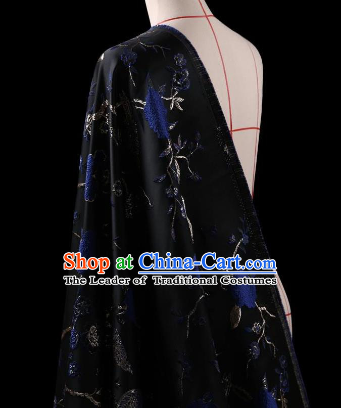 Traditional Asian Chinese Handmade Embroidery Flower Birds Jacquard Weave Coat Silk Tapestry Black Fabric Drapery, Top Grade Nanjing Brocade Ancient Costume Cheongsam Cloth Material