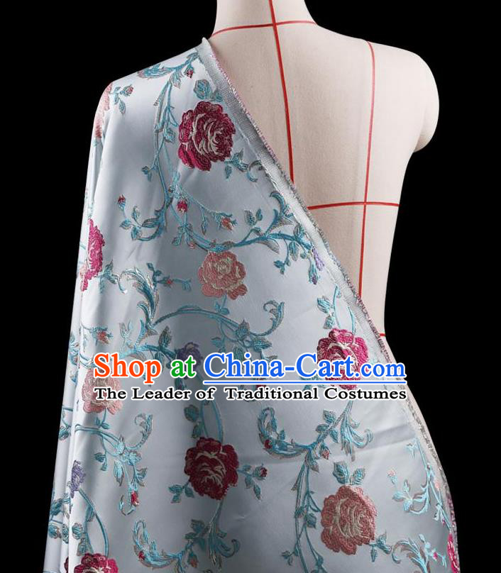 Traditional Asian Chinese Handmade Embroidery Flower Jacquard Weave Coat Blue Silk Satin Fabric Drapery, Top Grade Nanjing Brocade Ancient Costume Cheongsam Cloth Material
