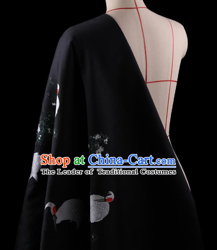 Traditional Asian Chinese Handmade Printing Cranes Dress Silk Satin Black Fabric Drapery, Top Grade Nanjing Brocade Ancient Costume Cheongsam Cloth Material