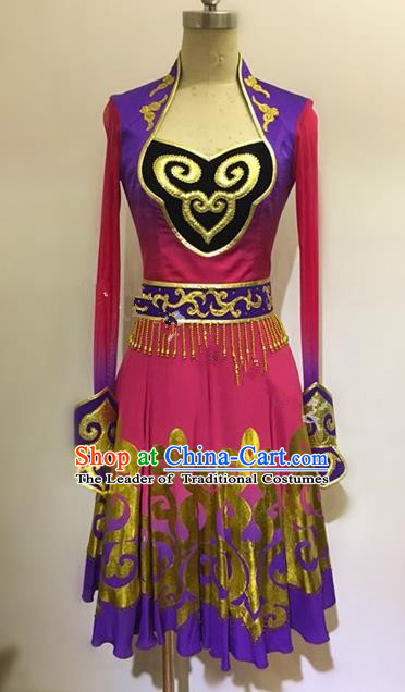 Traditional Chinese Uyghur Nationality Dance Clothing, Chinese Minority Nationality Uigurian Dance Dress Costume for Women