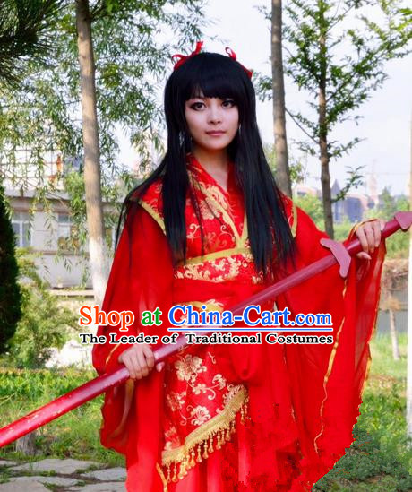 Asian Chinese Traditional Cospaly Swordswoman Wedding Costume, China Elegant Hanfu Bride Red Dress for Women