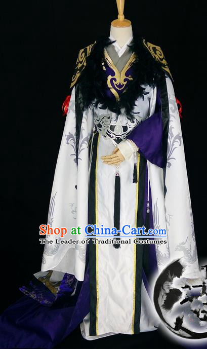 Asian Chinese Traditional Cospaly Han Dynasty Prince Costume, China Elegant Hanfu Nobility Childe Robe Clothing for Men