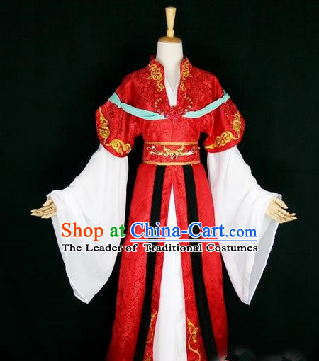 Asian Chinese Traditional Cospaly Tang Dynasty Bride Wedding Costume, China Elegant Hanfu Fairy Red Dress Clothing for Women