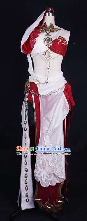 Asian Chinese Traditional Cospaly Costume Customization Ming Dynasty Female Monster Costume, China Elegant Hanfu Swordsman Clothing for Women