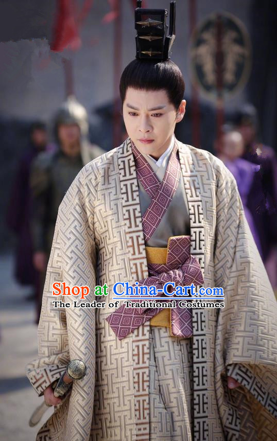 Asian Chinese Traditional Royal Highness Costume, Lost Love In Times China Ancient Northern and Southern Dynasties Prince Robe Clothing
