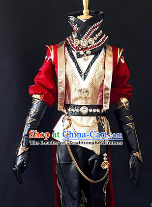 Asian Chinese Traditional Cospaly Costume Customization Zoroastrianism Costume Complete Set, China Elegant Hanfu Swordsman Red Clothing for Men