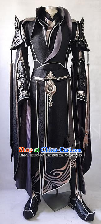 Asian Chinese Traditional Cospaly Costume Customization Ancient Royal Highness General Costume Complete Set, China Elegant Hanfu Swordsman Black Clothing for Men