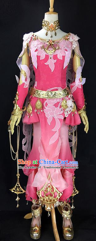Asian Chinese Traditional Cospaly Costume Customization Ancient Peri Princess Costume Complete Set, China Elegant Hanfu Swordsman Dress Clothing for Women