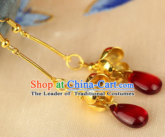 Chinese Ancient Style Hair Jewelry Accessories Wedding Imperial Consort Red Bead Earrings, Hanfu Xiuhe Suits Bride Handmade Eardrop for Women