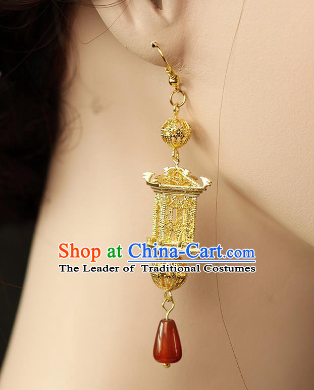 Chinese Ancient Style Hair Jewelry Accessories Wedding Imperial Consort Brass Earrings, Hanfu Xiuhe Suits Bride Handmade Eardrop for Women