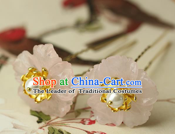 Chinese Ancient Style Hair Jewelry Accessories Wedding Barrettes Pink Flower Hairpins, Hanfu Xiuhe Suits Step Shake Bride Handmade Hairpins for Women