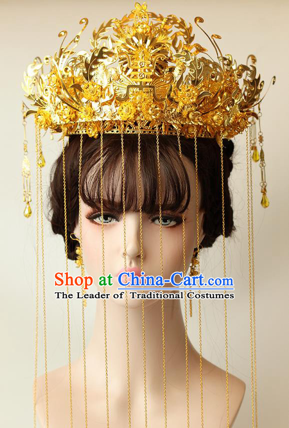 Chinese Ancient Style Hair Jewelry Accessories Wedding Golden Luxury Phoenix Coronet Complete Set, Hanfu Xiuhe Tassel Suits Step Shake Bride Handmade Hairpins for Women