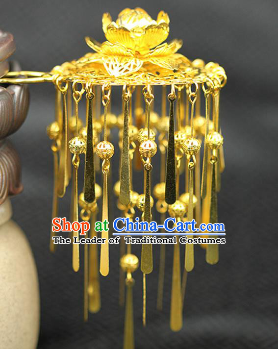 Asian Chinese Ancient Style Hair Jewelry Accessories Wedding Tassel Hairpins, Lotus Step Shake Hanfu Xiuhe Suits Bride Handmade Hair Sticks for Women