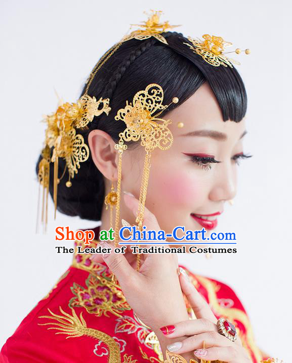 Asian Chinese Ancient Style Hair Jewelry Accessories Wedding Headwear, Hanfu Xiuhe Suits Bride Handmade Tassel Butterfly Hairpins Hair Fascinators Complete Set for Women