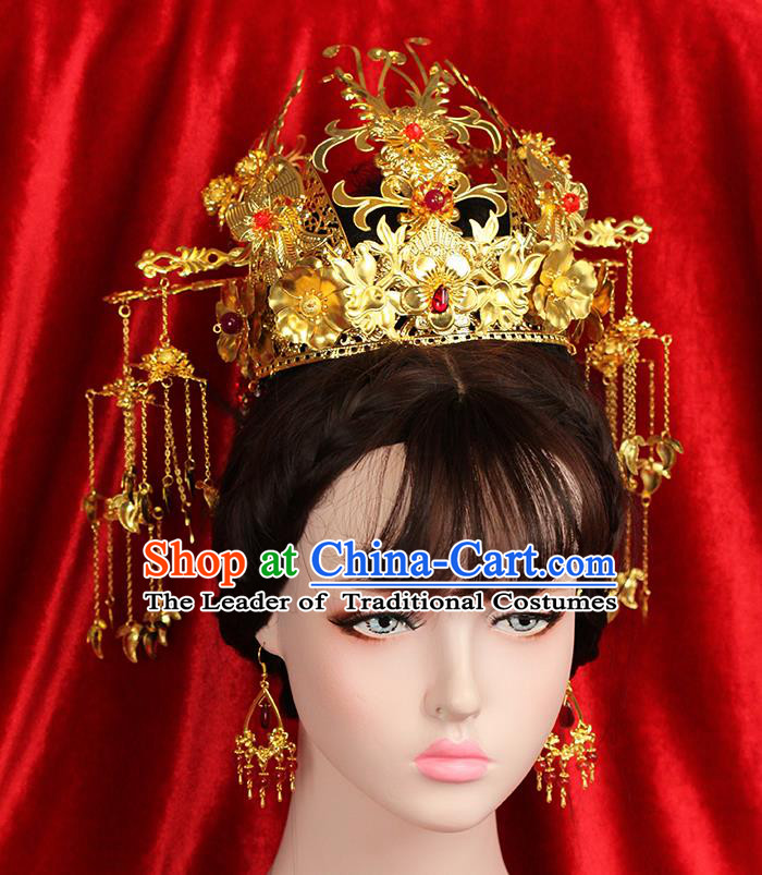 Asian Chinese Ancient Style Hair Jewelry Accessories Wedding Headwear, Hanfu Xiuhe Suits Bride Handmade Phoenix Coronet Hairpins Hair Fascinators Complete Set for Women