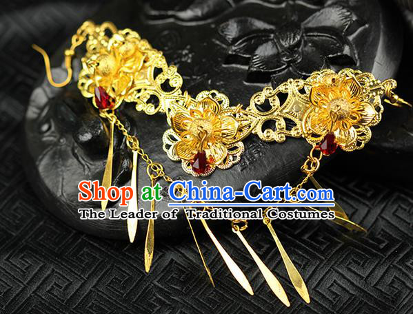 Chinese Ancient Style Hair Jewelry Accessories Wedding Tassel Frontlet, Hanfu Xiuhe Suits Step Shake Bride Handmade Hairpins for Women