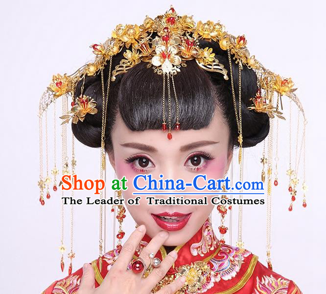 Chinese Ancient Style Hair Jewelry Accessories Wedding Phoenix Coronet Complete Set, Hanfu Xiuhe Suits Step Shake Bride Tuinga Handmade Hairpins for Women