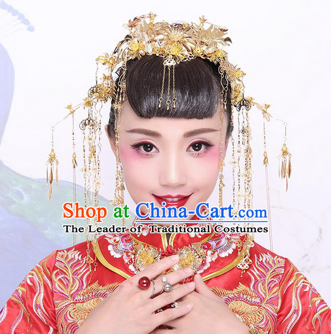 Chinese Ancient Style Hair Jewelry Accessories Wedding Luxury Tassel Hairpins, Hanfu Xiuhe Suits Step Shake Bride Handmade Phoenix Coronet Complete Set for Women