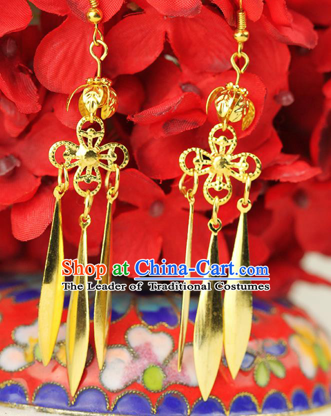 Chinese Ancient Style Hair Jewelry Accessories Wedding Imperial Consort Earrings, Hanfu Xiuhe Suits Bride Handmade Golden Eardrop for Women