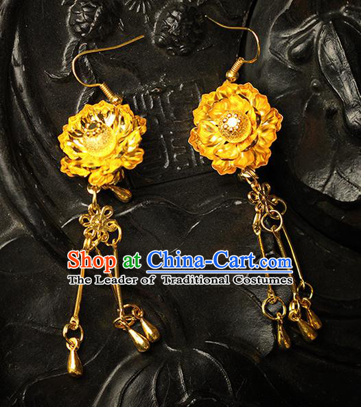 Chinese Ancient Style Hair Jewelry Accessories Wedding Imperial Consort Flower Earrings, Hanfu Xiuhe Suits Bride Handmade Golden Eardrop for Women