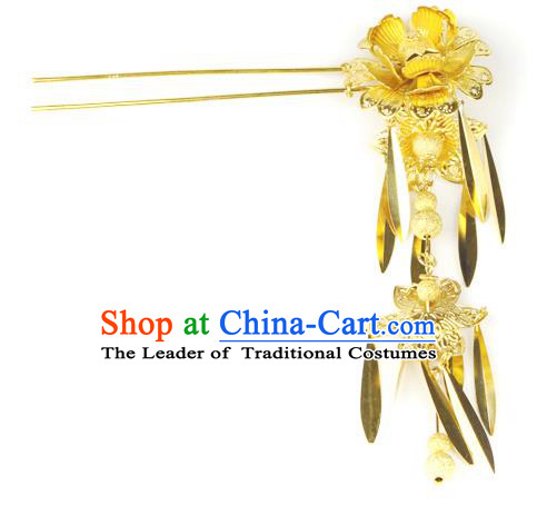 Chinese Ancient Style Hair Jewelry Accessories Wedding Flower Tassel Hairpins, Hanfu Xiuhe Suits Step Shake Bride Handmade Hair Stick for Women