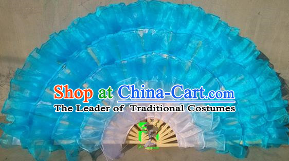 Pure Silk Traditional Chinese Fans Oriental Blue Ribbon Fan Folk Dance Cultural Yanko Dance Hand Fan