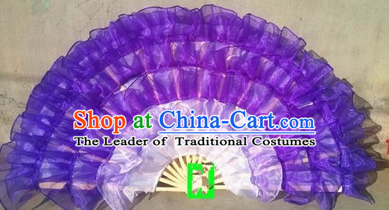 Pure Silk Traditional Chinese Fans Oriental Purple Ribbon Fan Folk Dance Cultural Yanko Dance Hand Fan