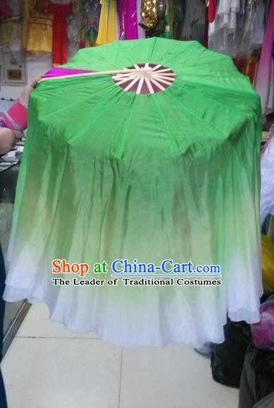 Pure Silk Traditional Chinese Fans Oriental Green Ribbon Fan Folk Dance Cultural Yangko Lotus Dance Hand Fan