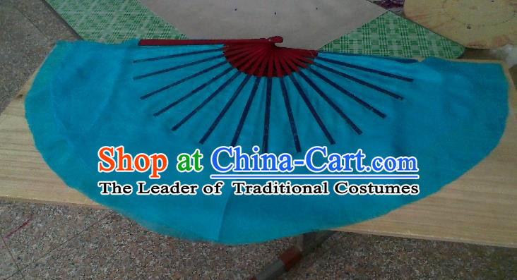 Pure Silk Traditional Chinese Fans Oriental Blue Ribbon Fan Folk Dance Cultural Yangko Dance Hand Fan