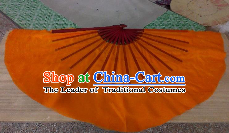 Pure Silk Traditional Chinese Fans Oriental Orange Ribbon Fan Folk Dance Cultural Yangko Dance Hand Fan