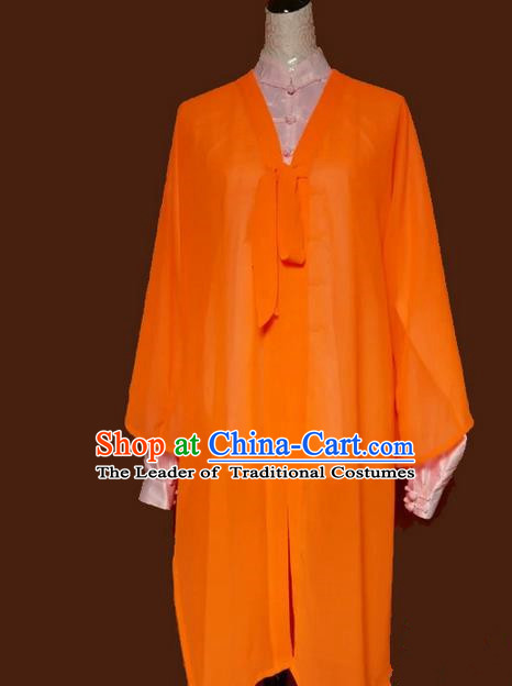 Asian Chinese Top Grade Silk Kung Fu Costume Martial Arts Tai Chi Training Tissue, China Gongfu Shaolin Wushu Orange Cardigan for Women