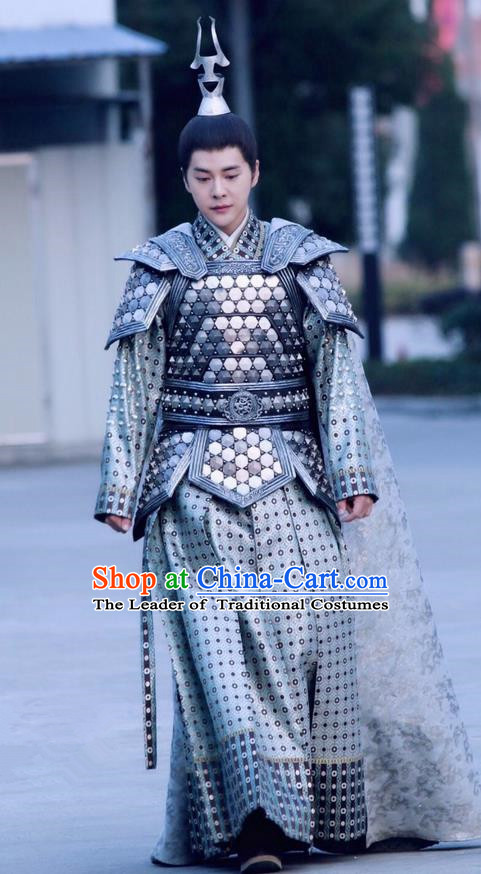 Asian Chinese Traditional Ancient General Costume and Headpiece Complete Set, Lost Love In Times China Northern and Southern Dynasties Warrior Armour Clothing for Men