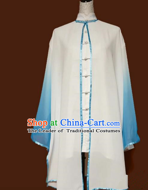 Asian Chinese Top Grade Silk Kung Fu Costume Martial Arts Tai Chi Training Tissue, China Gongfu Shaolin Wushu Embroidery Dragon Gradient Blue Cardigan for Men