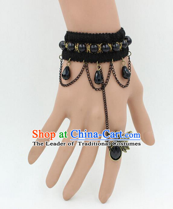 Traditional Chinese Accessories Black Lace Bracelet Bangle Chain for Women