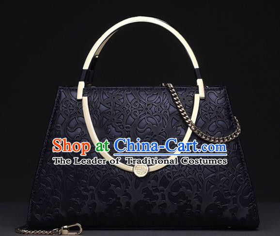 Traditional Handmade Asian Chinese Element Knurling Vines Flower Bags Shoulder Bag National Black Handbag for Women