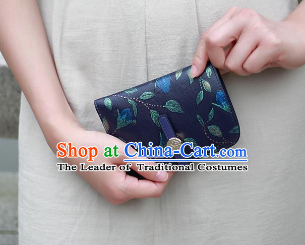 Traditional Handmade Asian Chinese Element Knurling Folding Wallet National Handbag Purse for Women