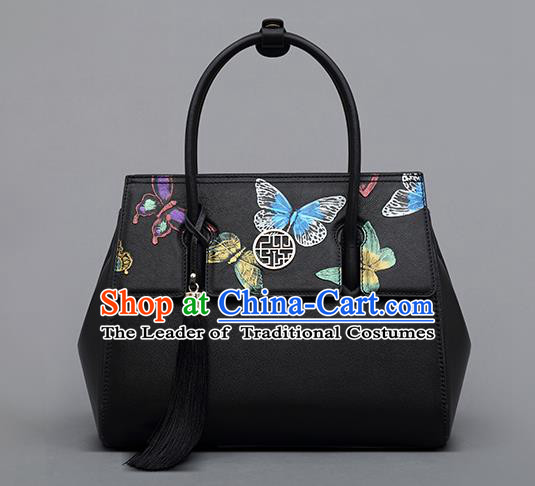Traditional Handmade Asian Chinese Element Clutch Bags Shoulder Bag National Embossed Butterflies Handbag for Women