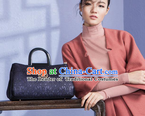Traditional Handmade Asian Chinese Element Knurling Clutch Bags National Purple Handbag for Women