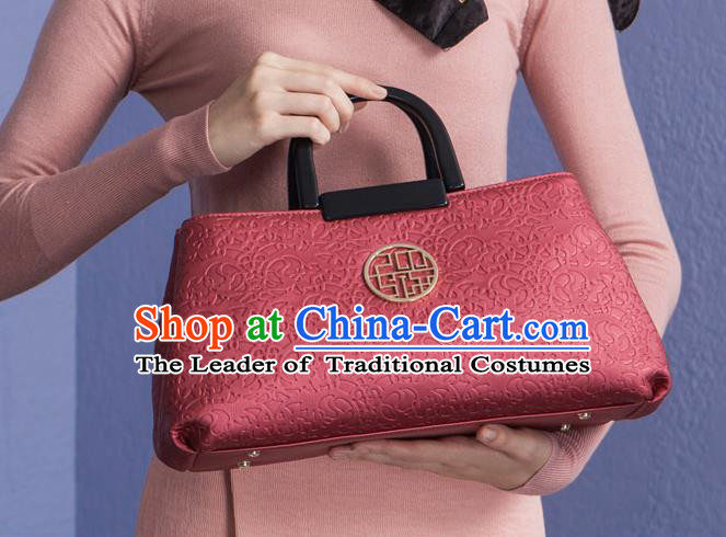 Traditional Handmade Asian Chinese Element Knurling Clutch Bags National Red Handbag for Women
