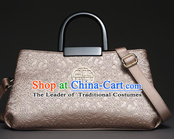 Traditional Handmade Asian Chinese Element Knurling Clutch Bags National Pink Handbag for Women