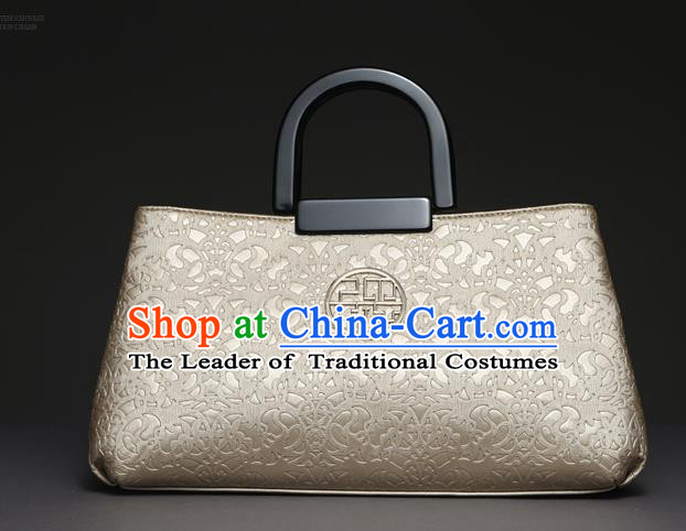 Traditional Handmade Asian Chinese Element Knurling Clutch Bags National Champagne Handbag for Women