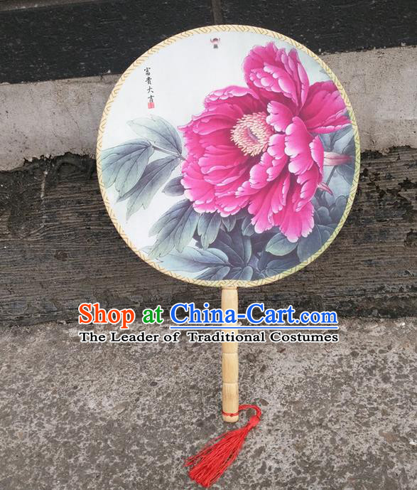 Traditional Chinese Crafts Beauty Printing Peony Fan China Round Fan Imperial Consort Fans for Women